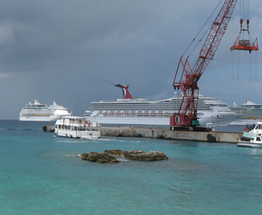 Carnival cruise ship docked just off of Grand Cayman Island.