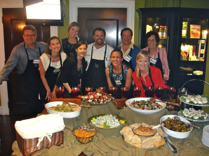 Cooking class while on a press trip to Savannah. 